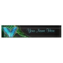Blue Morpho Butterfly Fractal Desk Name Plate