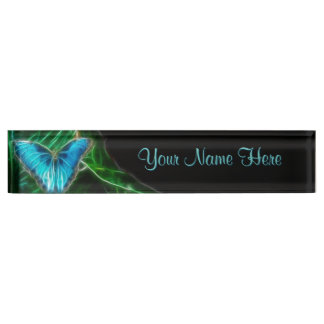 Blue Morpho Butterfly Fractal Desk Name Plate