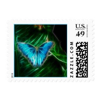 Blue Morpho Butterfly Fractal Postage Stamp