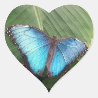 Blue Morpho Butterfly Heart Sticker