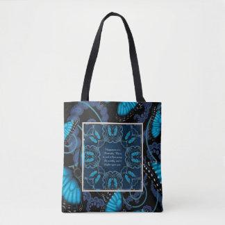 Blue Morpho Butterfly Mandala Tote Bag