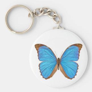 Blue Morpho Butterfly (Menelaus Blue Morpho, Morph Basic Round Button Keychain