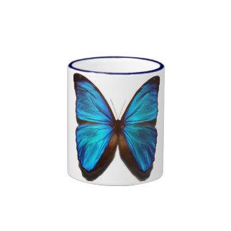 Blue morpho butterfly ringer coffee mug