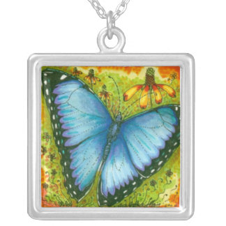 Blue Morpho Butterfly Necklace