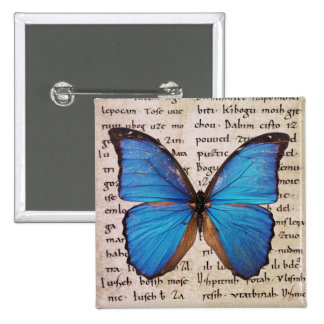 Blue Morpho Butterfly on Book Page Pinback Button