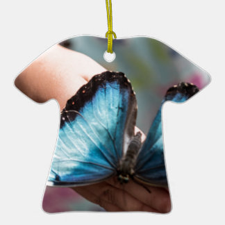 Blue Morpho Butterfly Christmas Ornament