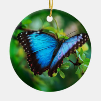 Blue Morpho Butterfly Christmas Ornaments