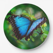 Blue Morpho Butterfly Paper Plate
