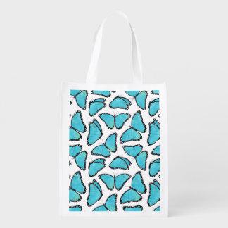 Blue Morpho Butterfly Pattern Grocery Bag