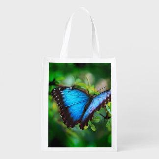 Blue Morpho Butterfly Reusable Grocery Bag