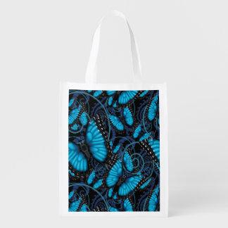 Blue Morpho Butterfly Swirls Reusable Grocery Bag