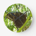 Blue Morpho Butterfly Tropical Nature Photography Round Clock
