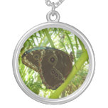 Blue Morpho Butterfly Tropical Nature Photography Silver Plated Necklace