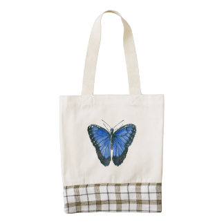 Blue Morpho butterfly watercolor painting Zazzle HEART Tote Bag
