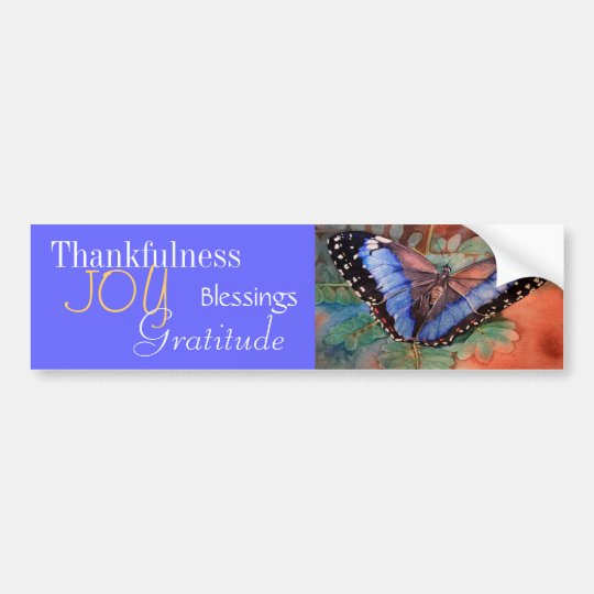 Blue Morpho Watercolor Gratitude Bumper Sticker
