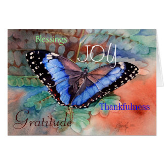 Blue Morpho Watercolor Gratitude Card