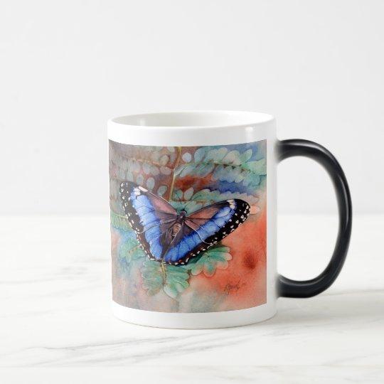 Blue Morpho Watercolor Magic Mug