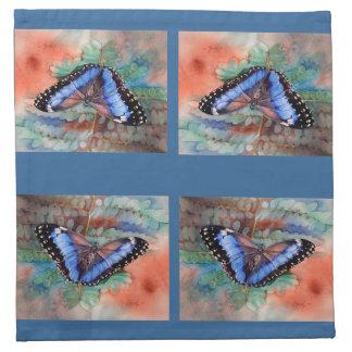 Blue Morpho Watercolor Napkin