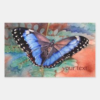 Blue Morpho Watercolor Rectangular Sticker