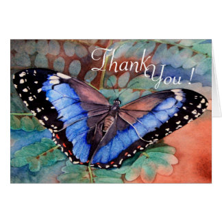 Blue Morpho Watercolor Thank you Greeting Card