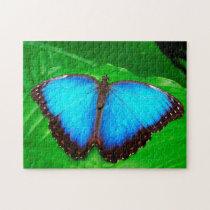 Blue Morphofalter Butterfly. Jigsaw Puzzle