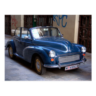 Blue Morris Minor Convertible Tourer Postcard