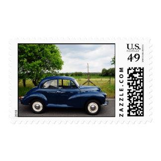 Blue Morris Minor Postage Stamp