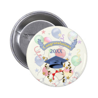Blue Mortar and Diploma Graduation Pinback Buttons