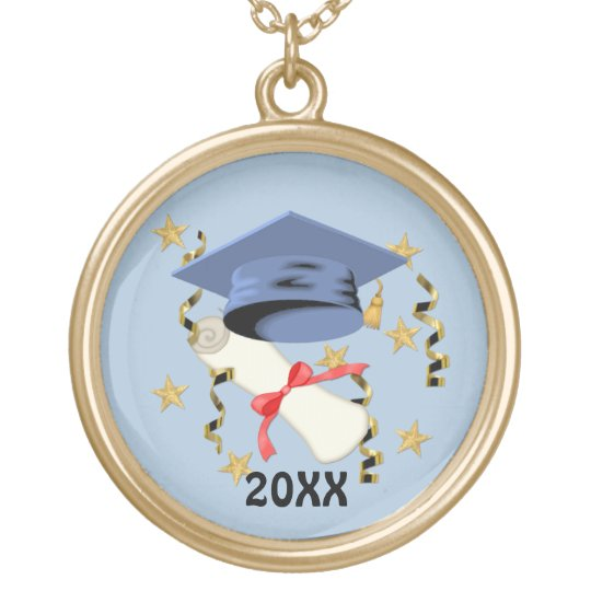 Blue Mortar and Diploma Graduation Gold Plated Necklace