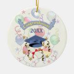 Blue Mortar and Diploma Graduation Christmas Ornament