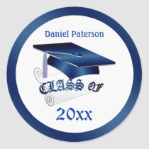 Blue Mortar, diploma Class of any year Graduation Classic Round Sticker