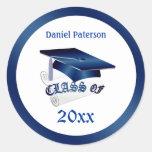 Blue mortar, diploma Class of Graduation Sticker