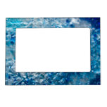 Blue Mosaic - Abstract Blue Silver Bubbles Magnetic Picture Frame