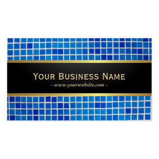 Blue Mosaic Background Dark Business Card