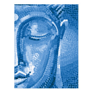 Blue Mosaic Buddha Face Postcard