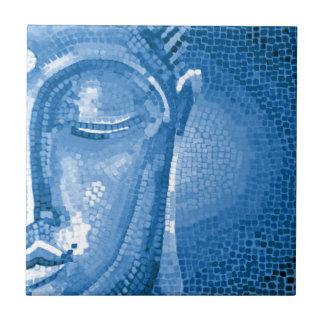 Blue Mosaic Buddha Face Small Square Tile