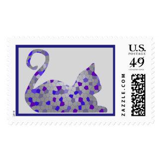 Blue Mosaic Cat Custom Postage