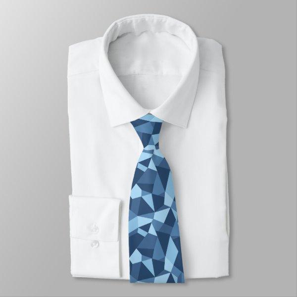 Blue mosaic crazy patchwork geometric neck tie