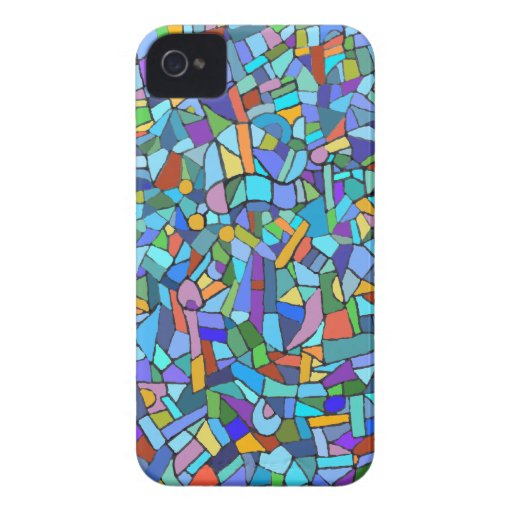 Blue Mosaic Decorative Pattern iPhone 4 Cases