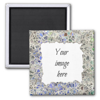 Blue Mosaic Frame Refrigerator Magnets