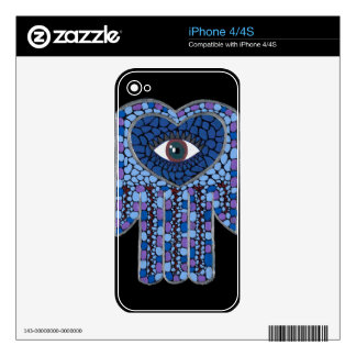 Blue Mosaic Hamsa I electronics skin iPhone 4S Skin