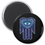 Blue Mosaic Hamsa II Fridge Magnets