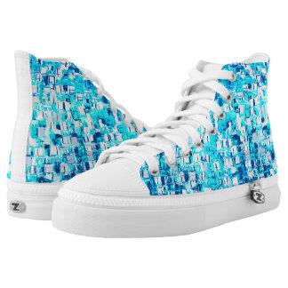 blue mosaic High-Top sneakers