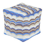 Blue Mosaic Large Outdoor Cubed Pouf