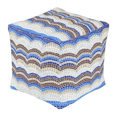 Blue Mosaic Large Outdoor Cubed Pouf