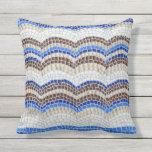 Blue Mosaic Outdoor Throw Pillow 16'' x 16''
