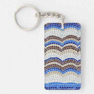 Blue Mosaic Rectangle Double-Sided Keychain