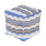 Blue Mosaic Small Outdoor Cubed Pouf