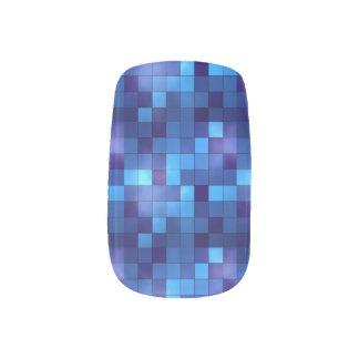 blue mosaic square pattern minx nail wraps