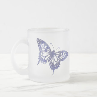 Blue Mosaic Stained Glass Butterfly Frosted Glass Coffee Mug